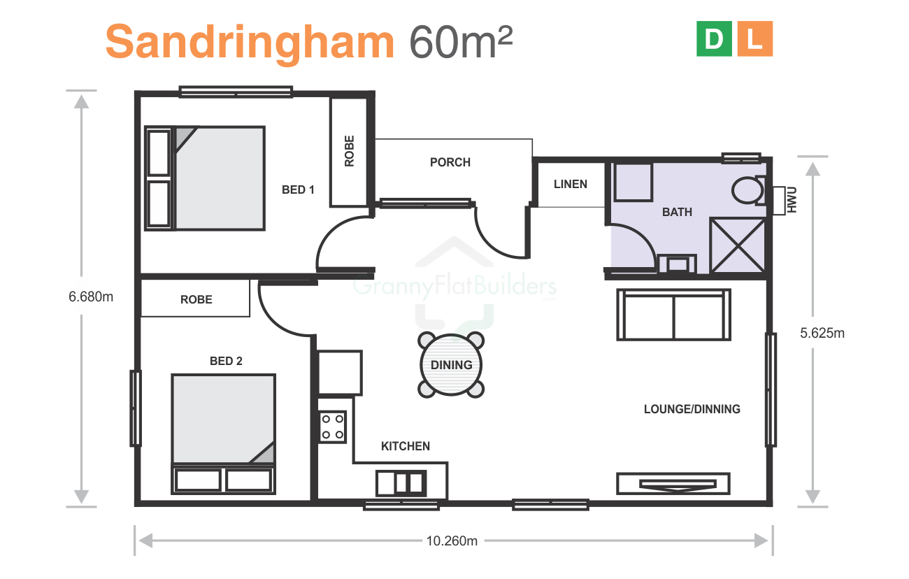 Granny flat floor plans 60m2 for Home design 60m2